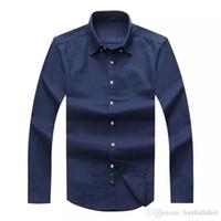 ingrosso camicie di cavalli moda-Camicie a maniche lunghe da uomo Slim Fit 2017 Autunno Uomo Camicie da uomo di marca USA Camicie casual 100% Oxford Camicie da equitazione