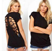 backless flügelhemd großhandel-Neue Sommermode Casual T-shirt Frauen Laser Engel Flügel Backless T-shirt Frau Kleidung Oansatz t-shirt T-Shirt Tops