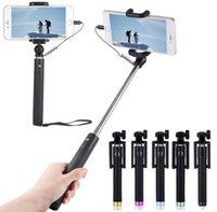 iphone 5s selbstbewusstsein großhandel-Luxus Wired Selfie Stick Erweiterbar Handheld Einbeinstativ Falten Selbstporträt Halter für IPhone 5 S 6 6 S 7 Plus Selfi Stik LLFA