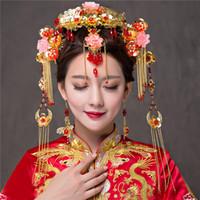 ingrosso accessorio di gioielli per capelli-Colore oro Stile cinese Vintage Accessori per capelli da sposa Accessori per capelli Tasseles Phoenix Ornamenti per capelli Gioielli per capelli