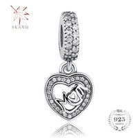 75423c459 Original Charms Mom Love Dangle pandora charms 925 ale Sterling Silver  Loose Beads Diy Jewelry For Thread Necklace Bracelet Mother's Day