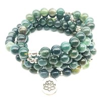 Wholesale stone woman s necklace resale online - SN1353 Moss Stone Bracelet New Design Fashion Women s Bracelet Natural Stone Mala Lotus Charm Yoga Necklace
