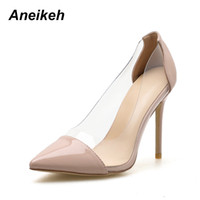 46a0945d7d7 wholesale PVC Transparent Fashion Women Shoes Ladies Slip On Sexy High  Heels Pointed Toe Thin Heels Wedding Shoes Party Pumps