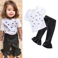 Wholesale Kids Leather Pants - Girls INS Stars suits 2018 Children fashion Short sleeve T-shirt+ Leather pants 2 pieces set suit Baby kids clothing B11