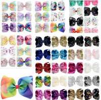 Wholesale Christmas Bows For Baby Girls - 8 Inch Rhinestone Hair Bow Jojo Bows With Clip For Baby Children girls Large Sequin Bow Unicorn Bow Mermaid 6 Styles Factory Price