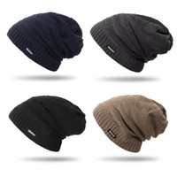 Wholesale Beanie Long - New True Letter Winter Hat Long Size Knitted Cap High Quality Casual Beanies For Men & Women Solid Bonnet Cap