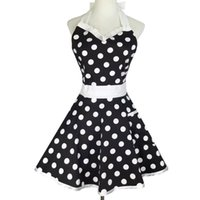 Wholesale sexy lace aprons resale online - New Design Retro Cute Sexy Waiter Apron Dress With Pocket Cotton White Lace Black Polka Dot Kitchen Chef Cooking Aprons For Woman