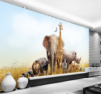 Wholesale Elephant 3d Stickers - Customized 3D Wallpaper Non-woven Wall Mural Painted Elephant Giraffe Natural Animal World Fresco Living Room Background Home Decoration