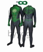 grüne partylaternen großhandel-Moive Green Lantern Superheld Spandex Lycra Zentai Body Halloween Cosplay Party Anzug