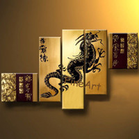 Wholesale chinese landscape canvas oil paintings online - hand painted wall art modern abstract oil painting Chinese dragon painting wall hanging panel canvas art unique gift Kungfu Art