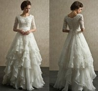 Wholesale long white dress square - 2019 Modest Long A-Line Lace Tulle Wedding Dresses Square Sheer Half Sleeves Trains Buttons Back Bridal Gowns