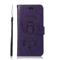 baykuş cüzdanı deri kapak toptan satış-HTC U11 için Bir X10 Manyetik Desen PU Deri Çevirme Cüzdan Kılıf Kabartma Baykuş Desen Standı Kapak