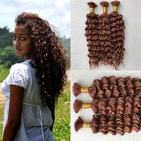 Wholesale human hair weft 33 online - Deep Curly Brazilian Bulk Human Hair For Braiding Unprocessed Human Braiding Hair Bulk No Weft
