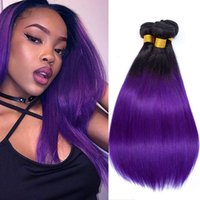 Wholesale 22 purple hair extensions resale online - Ombre Hair Bundles Peruvian Straight Bundles Human Hair Weaving T1B Purple Color A Virgin Remy Hair Extensions quot quot