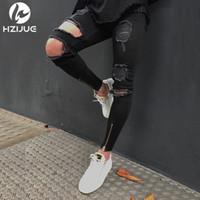 jeans großes loch knie großhandel-Denim Luxus Jeans Hi-Street Herren Knie Eversion Ripped Big Hole Herren Jeans Streetwear Skateboard Straight Man Lässige Elastic Jeans