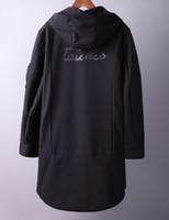 Wholesale big design coats resale online - Winter Autumn New Arrival Mens Black Hooded Simple Design Wind Breaker Zipper Jacket Big Pockets Long Sleeved Coat