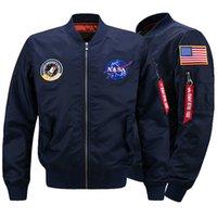 добавить куртки оптовых-NASA Mens MA1 бомбардировщик куртка Insignia USAF Kanye West хип-хоп Спорт мужской ветровка куртка флаг мужская зима добавить хлопок толстые секции куртка