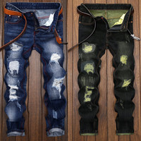 Wholesale Popular Pants - Mens jeans robin Motorcycle biker jeans rock revival skinny Slim ripped Popular Hip Hop beggar hole true Denim pants Men designer jeans 009