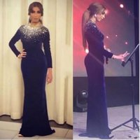 indirimli uzun gece elbiseleri toptan satış-Arapça Yüksek Boyun Abiye Uzun Kollu Koyu Lacivert Kadife Kadınlar Örgün Abiye giyim Arapça Ünlü Örgün Parti Giymek Indirim