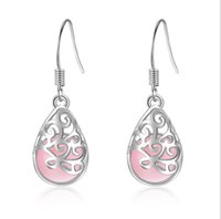opal wassertropfen anhänger großhandel-Silberne Farbe Anhänger lieben die Trevi-Brunnen Mondlicht Opal Ohrringe Wasser Tropfen Ohrring für Frauen Modeschmuck
