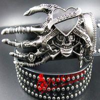 Wholesale Heavy Metal Belts - 2018 Fashion men skull street dance full rivet belts heavy metal rock Hip hop nightclub skull belt personality
