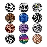 kuhknöpfe großhandel-kuh leopard tiger schlange Muster glas druckknopf für DIY schmuck Runde foto cabochons DA1035