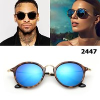 neue stil gläser für frauen großhandel-New 2018 Fashion Classic Vinatge 2447 Runde Sonnenbrille Männer Frauen Markendesign Sonnenbrille Oculos De Sol Gafas