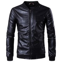 Wholesale Motorcycle Jackets Leather Classic - Wholesale- 2017 New Sale Fashion leather jacket Classic Autumn Spring Men Motorcy Thin leather jacket Male Bomber Motorcycle Biker Man Coat