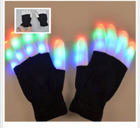 Wholesale white rave gloves - Led Flash Gloves Rave Gloves Mitts Flashing Finger Lighting Glove LED Colorful 7 Colors Light Show Black and White With Pack Freeshipping