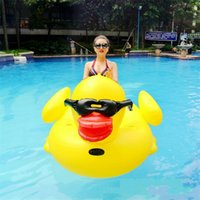 Wholesale outdoor beds inflatable online - Inflatable Giant Rubber Duck Floating Row Ride On Animal Toys Pool Toy Adults Outdoor Summer Infant Swim Ring Swimming Bed hmy Y