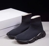 zapatos casuales de tela plana al por mayor-Hombre Mujer Nuevo Slip-on Tela elástica Speed Trainer Runner Hombre Zapatos Aire libre Lujo Unisex Zapatos casuales Calcetines de moda plana Botas