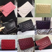 Wholesale Embossed Handbags - Wholesale Orignal real sheep leather caviar fashion famous chain shoulder bag handbag presbyopic card holder purse evening bag messenger WOC