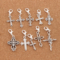 Wholesale jesus cross charms - 100pcs lot Cross Jesus Lobster Claw Clasp Charm Beads Tibetan Silver Floating Fit Bracelet Jewelry Findings Components CM28