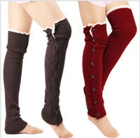 Wholesale Long Boot Cuffs - Lace Leg Warmers Women Button Boot Cuffs Fashion Crochet Trim Toppers Stretch Long Boot Socks Foot Cover Socks Boot Cuffs KKA3903