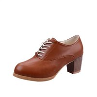 damen oxford fersen großhandel-Sommer Damenschuhe Damen Heels Schuhe Fashion Knöchel Oxford Leder Lässige kurze Stiefel Sandalias mujer 2018