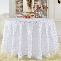 ingrosso torta nuziale gialla-Grande Gatsby 3D Rose Flowers wedding table cloth tondo e torta nuziale idea tavolo Masquerade Birthday Party bianco Bordeaux giallo