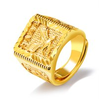 Wholesale men s wedding rings for sale - Punk Rock Eagle Men s Ring Luxury Gold Color Resizeable To Chinese Letter Jewelry Finger Bands Never Fade KJ049
