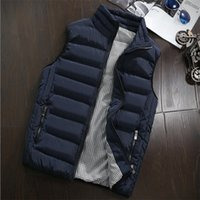 Wholesale mandarin coat - 2018 New Autumn Winter Warm Vest Men Casual Sleeveless Jacket Army Waistcoat Men's Vest Fashion Cotton-Padded Coat Plus Size 5XL