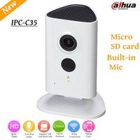 dahua 3mp kameralar toptan satış-Yeni Dahua 3mp Wifi IP Kamera IPC-C35 HD 1080 p Güvenlik Kamera Desteği SD kart kadar 128 GB dahili Mic İngilizce sürüm