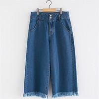Wholesale korean style women s coat - Autumn Spring Jeans for women Loose Korean style tassel Plus size Women pant Blue colors S-3XL