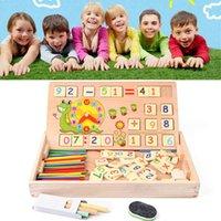 bebê lousa venda por atacado-Matemática de madeira brinquedos do bebê educacional relógio cognição brinquedo matemática com giz preto crianças brinquedos educativos de madeira