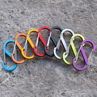 Wholesale ring double silver - Zinc Alloy EDC S Shape Type Buckle Double Gated Carabiner Key Ring Clip Hook Silver Black Color 5*2.2CM Bearing 4.5KG BBA265