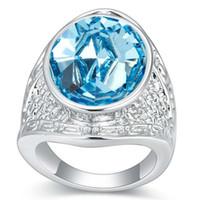 kadınlar için büyük taşlar halkalar toptan satış-Kadınlar Hediye Gelin Düğün Takı Beyaz Altın Kaplama 22315 İçin Swarovski Elements Alyans gelen Big Blue Rhinestones Kristal