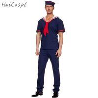 blaue seemannuniform großhandel-Plus Size Navy Kostüm Männer Adult Sailor Cosplay Blau Arbeiter Uniform Halloween Kostüme Karneval Festival Anzug T-shirt Pant Hut