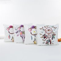 Wholesale silk pillows cases resale online - Dreamcatcher Cushion Covers Print Silks And Satin Pillow Case Luxury Home Decor Pillowslip Ethnic Style Non Toxic xa jj