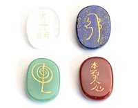 Wholesale new free fonts - Set of 4 Small Size Chakra Healing Crystal Engraved Reiki Symbols 1 INCHES Small Palm Stones with a Free Pouch