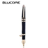 elbise kalemi toptan satış-Blucome Son Canlı Siyah Kalem Şekli Emaye Broş Alaşım Kırtasiye Kadın Erkek Takım Elbise Elbise Çantası Pin Dekorasyon Takı Için Broşlar
