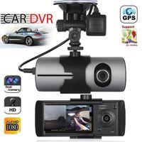 обновление объектива оптовых-2018 модернизированный двойной объектив GPS камеры HD автомобильный видеорегистратор Dash Cam видеорегистратор G-сенсор ночного видения Бесплатная доставка