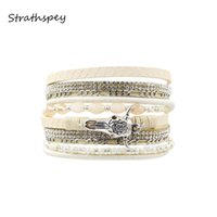 обертывания для рук ручной работы оптовых-Double Wrap Four Rows Magnetic PU Leather Bangle  Handmade Cow Head Bracelets animal charm Rhinestone Trendy Jewelry