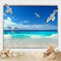 Wholesale Seaside Wall Decor - Papel De Parede 3D Wallpaper For Wall Mural HD Beautiful Seaside Landscape Nature Photo Wallpaper Living Room Bedroom Home Decor